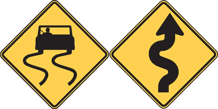 Road signs - Slippery When Wet - Winding Road