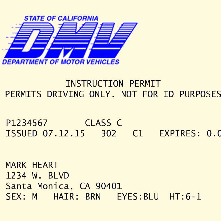 Instruction Permit Requirements in California - copyright: driversprep.com