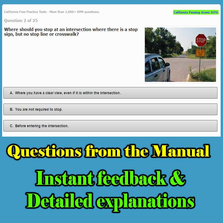 DMV written test questions with instant feedback and explanations