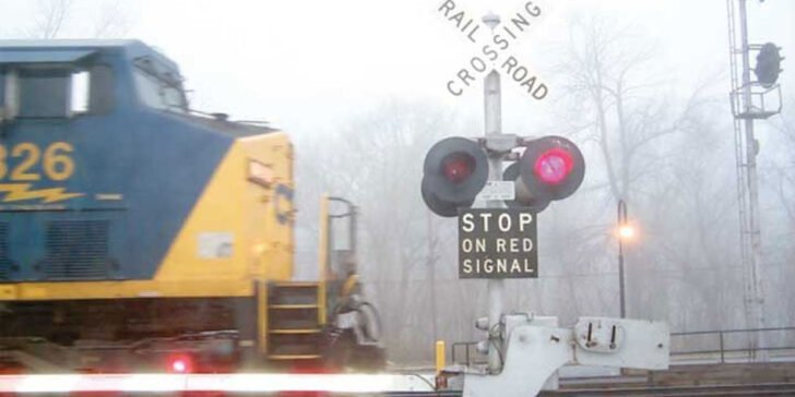 railroad crossing with lowered gate