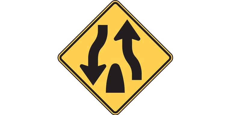Road sign: W6-2 - Divided Highway Ends