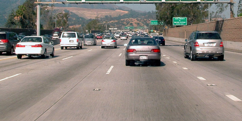 Safe Following Distance California Highway - Credit: Saltysailor