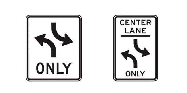 Common two-way left turn lane signs - Driver's Prep