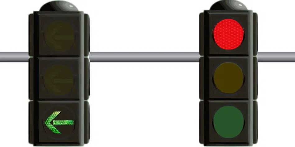 Circular red and green arrow