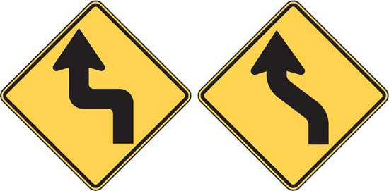 Road signs - Reverse Turn and Reverse Curve
