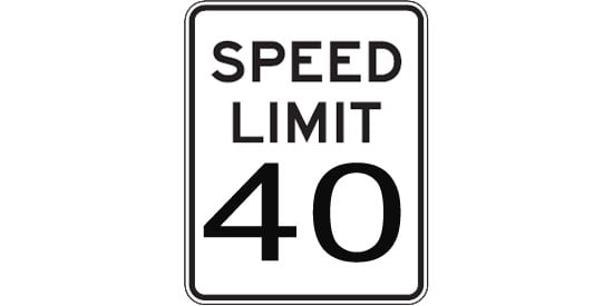 Black and White Regulatory Speed Limit Sign