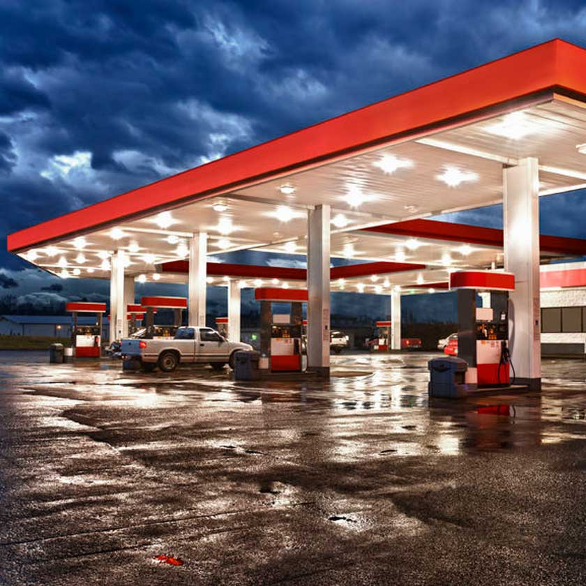 Gas station in the morning - copyright: Carolyn Franks