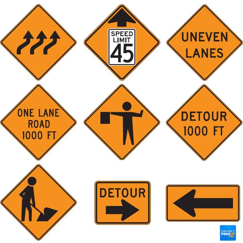 Temporary Traffic Control Signs - Copyright: driversprep.com