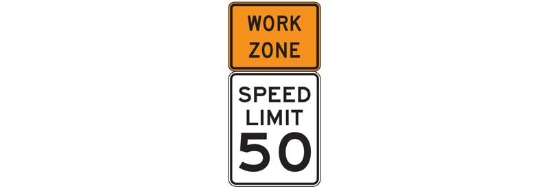 Speed limit sign in a work zone