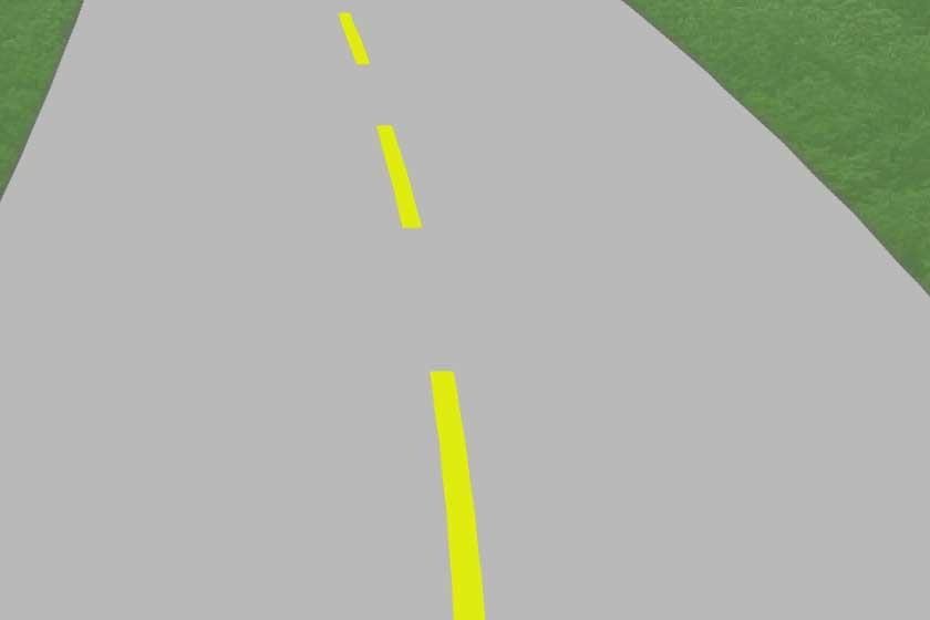 Pavement markings - broken yellow line. Copyright: driversprep.com