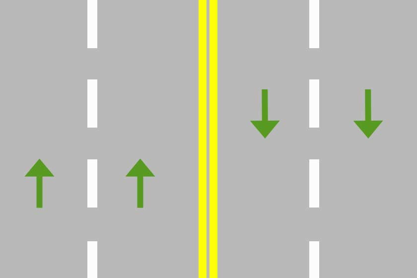 Pavement markings on a divided highway with 4 or more lanes