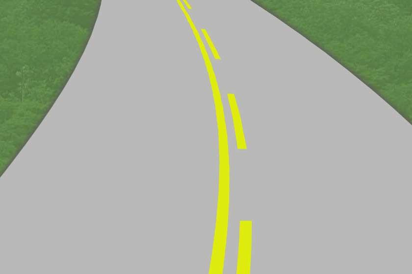 Pavement markings - solid/broken yellow lines