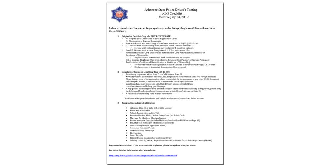Arkansas document check list