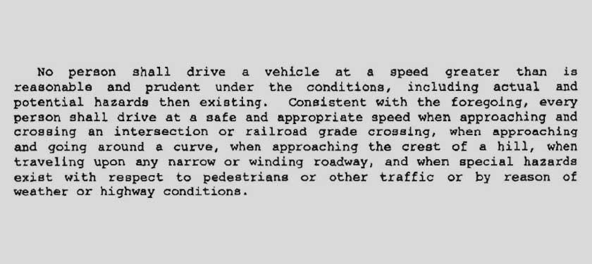 Basic Speed Law - Uniform Vehicle Code