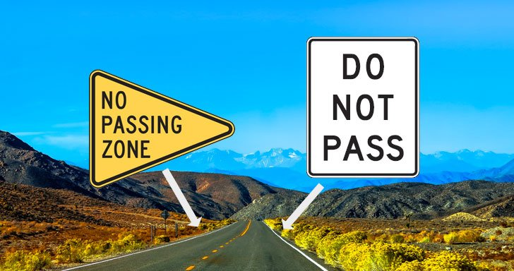Signs marking a no-passing zone