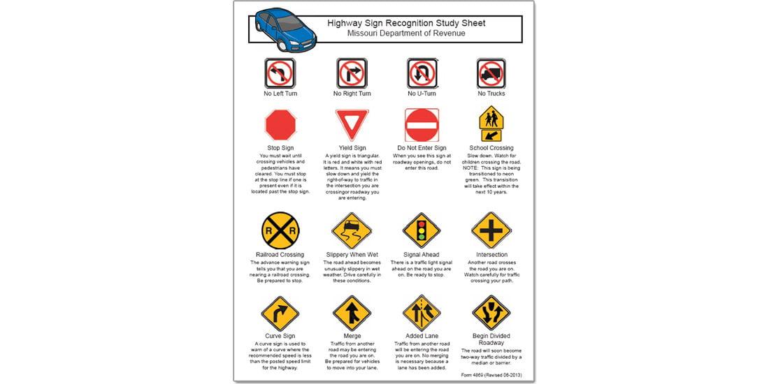 Missouri road sign study sheet