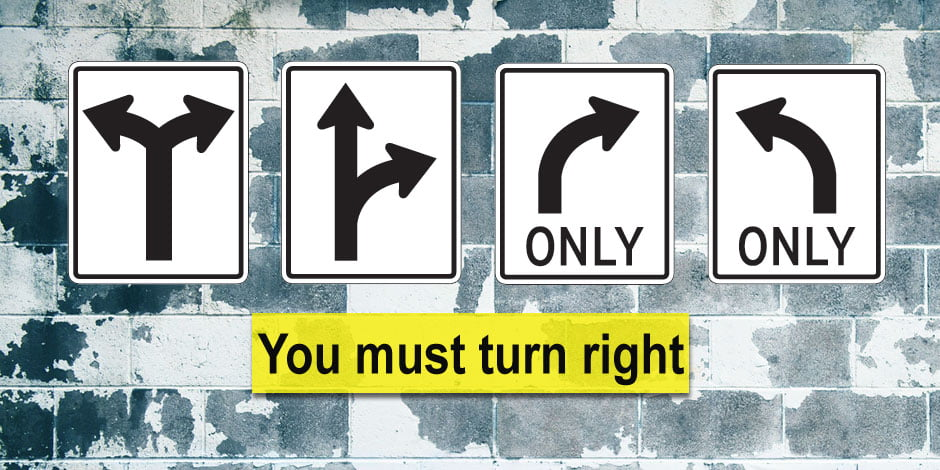 Which sign means that you must turn right?